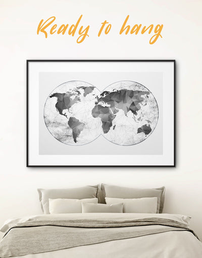 Framed Abstract Grey World Map Wall Art Print - Abstract map abstract world map wall art bedroom Contemporary contemporary wall art