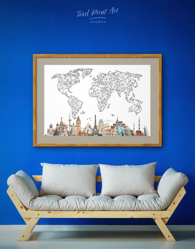Framed Abstract Map of the World Wall Art Print - Abstract bedroom Black and white world map Dining room framed print