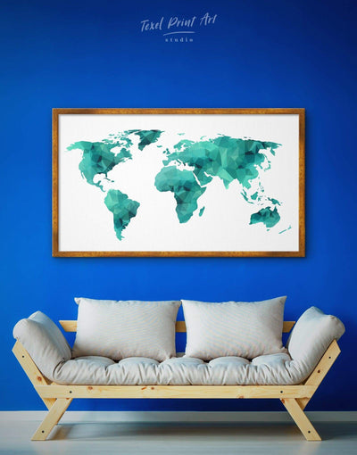 Framed Abstract Map Wall Art Canvas - Abstract map abstract world map wall art bedroom framed canvas framed world map canvas