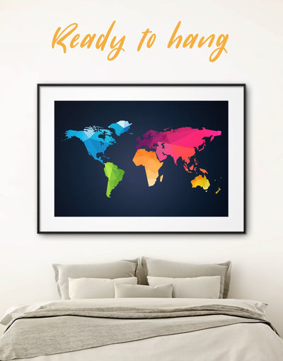 Framed Abstract Map Wall Art Print - Abstract Abstract map abstract world map wall art bedroom black
