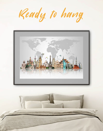 Framed Abstract Map Wall Art Print - abstract world map wall art bedroom Contemporary contemporary wall art framed map wall art