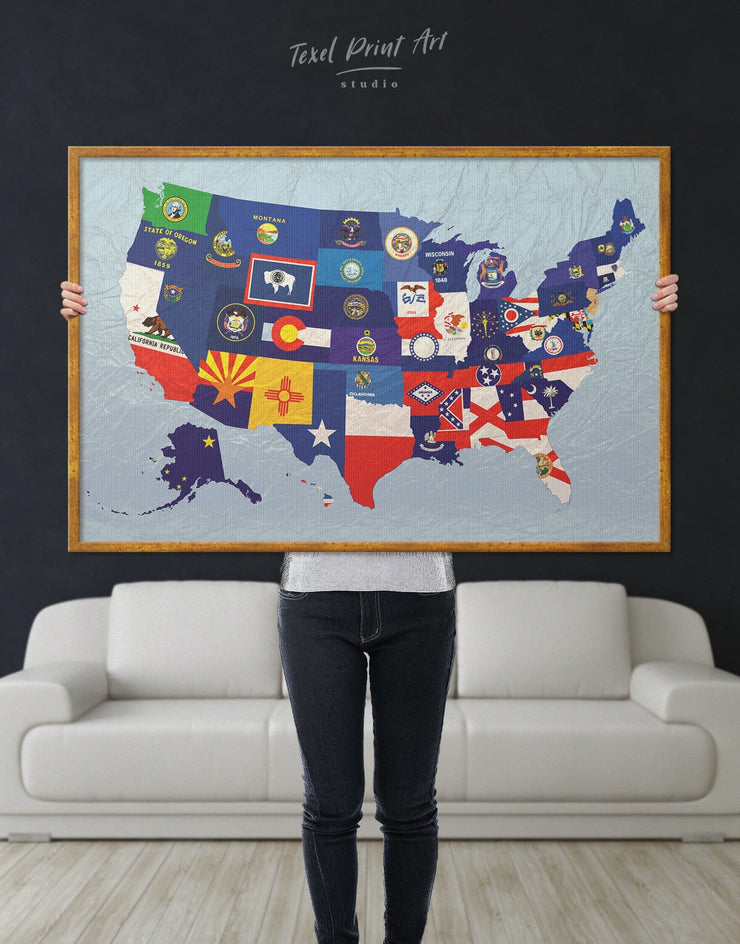 Framed Abstract Map with Flags Wall Art Canvas - Abstract Country Map Flag Wall Art framed canvas Living Room