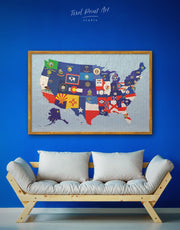 Framed Abstract Map with Flags Wall Art Canvas