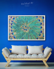 Framed Abstract Peacock Teal Feathers Wall Art Canvas