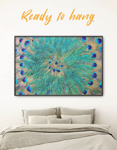 Framed Abstract Peacock Teal Feathers Wall Art Canvas - Abstract Blue Abstract Wall art Blue wall art for living room Feather Wall Art