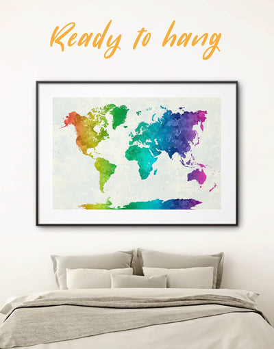 Framed Abstract Rainbow Map Wall Art Print - Abstract map abstract world map wall art bedroom framed print framed world map print
