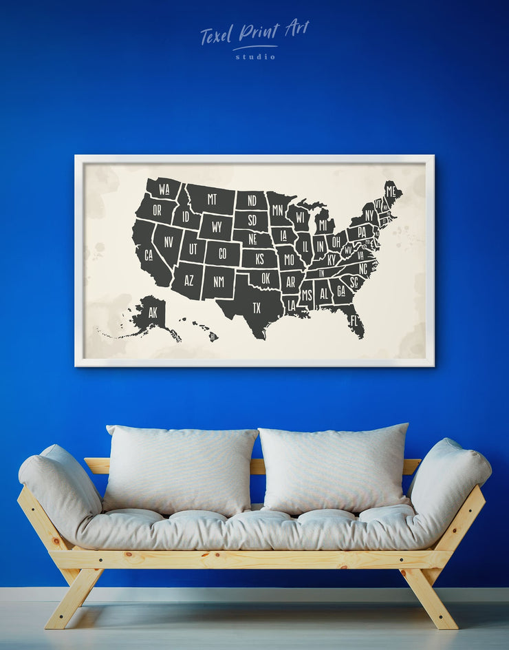 Framed Abstract USA Map Wall Art Canvas - bedroom black black and white wall art Contemporary framed canvas