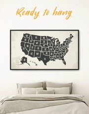 Framed Abstract USA Map Wall Art Canvas
