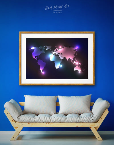 Framed Abstract World Map Colorful Wall Art Print - Abstract Abstract map bedroom black framed