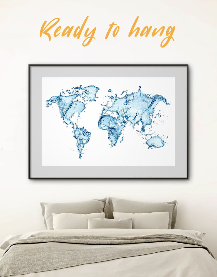 Framed Abstract World Map Print - Abstract Abstract map abstract world map wall art aqua wall art bedroom