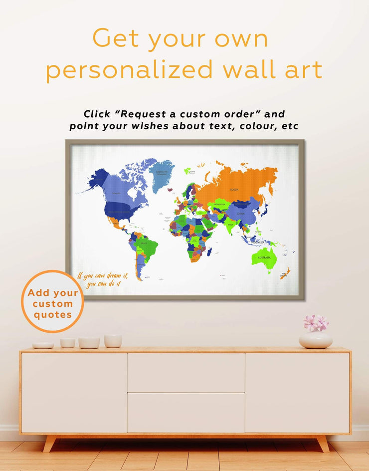 Framed Abstract World Map Wall Art Canvas - Abstract Abstract map bedroom framed canvas framed world map canvas