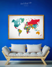 Framed Abstract World Map Wall Art Canvas 0065