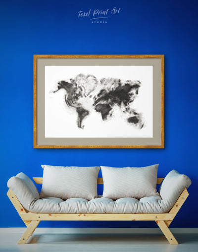Framed Abstract World Map Wall Art Print - Abstract Abstract map bedroom Black black and white wall art