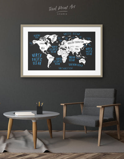 Framed Abstract World Map Wall Art Print - Abstract map bedroom Black blue framed print