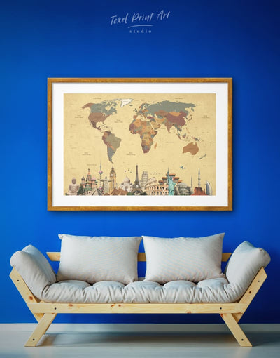 Framed Abstract World Map Wall Art Print - Abstract Abstract map bedroom Brown Dining room