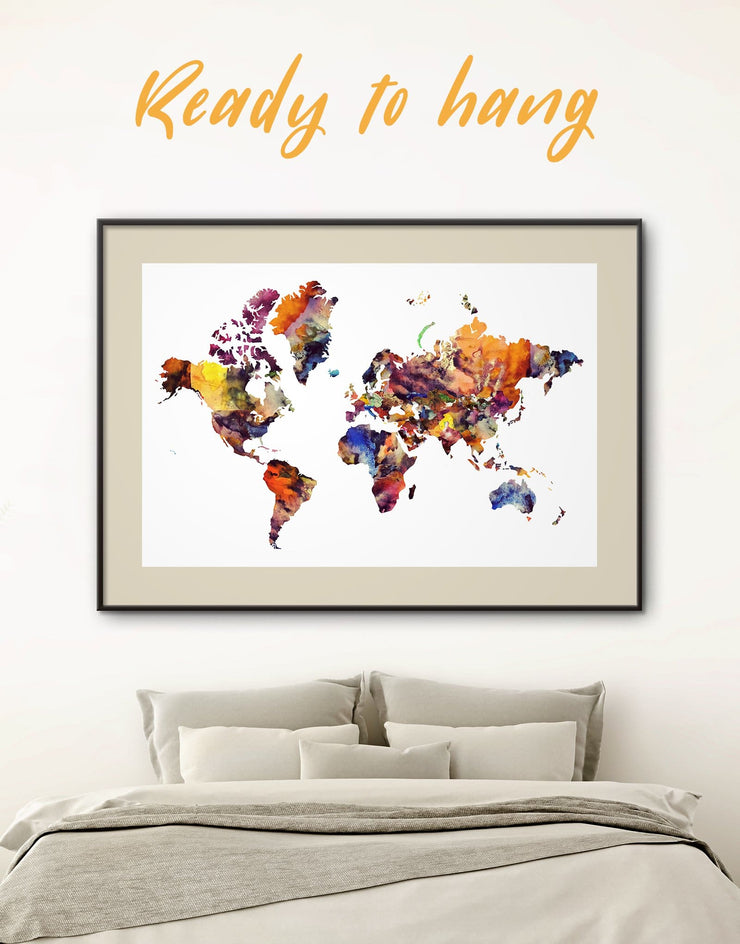 Framed Abstract World Map Wall Art Print - Abstract Abstract map abstract world map wall art bedroom Brown