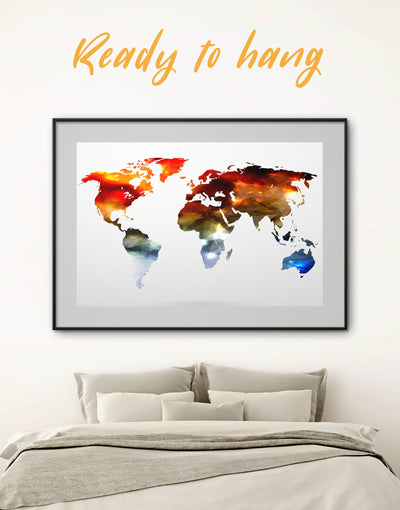 Framed Abstract World Map Wall Art Print - Abstract map bedroom framed print framed world map print geometric world map