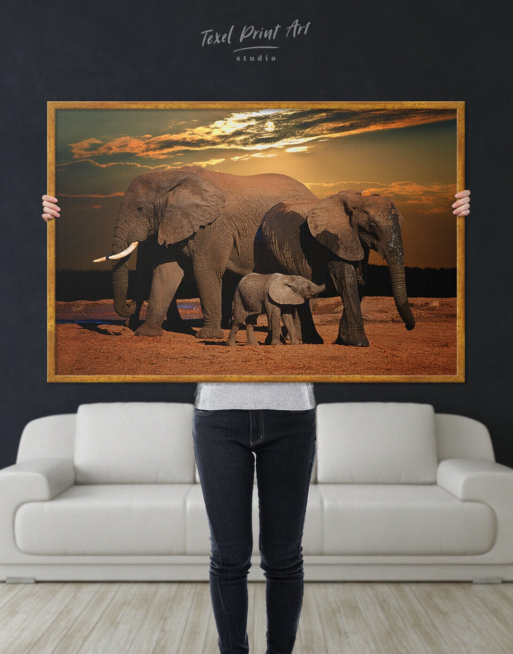 Framed African Elephants Wall Art Canvas - Animal Animals bedroom Brown Dining room