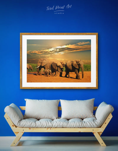 Framed African World Elephants Wall Art Print - Animal Animals bedroom elephant wall art framed print