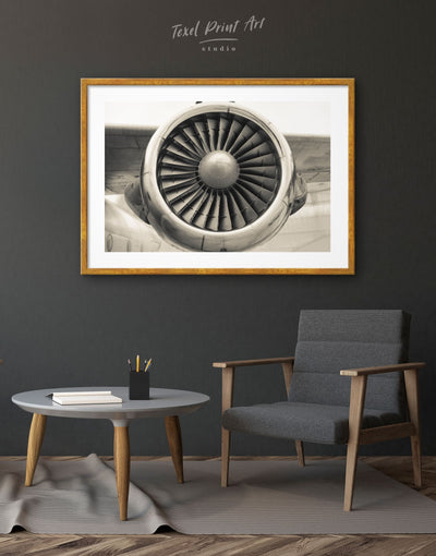 Framed Airplane Turbine Wall Art Print - Aviation bachelor pad bedroom framed print Hallway