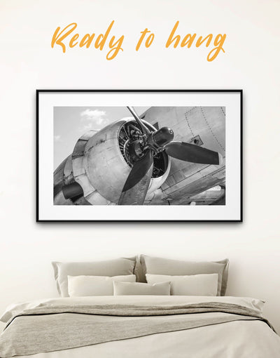 Framed Airplane Wall Art Print - airplane wall art Aviation bedroom black and white framed wall art black and white wall art