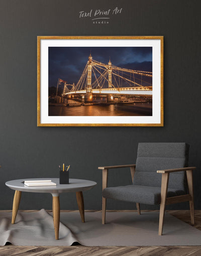 Framed Albert Bridge View Wall Art Print - Wall Art bedroom Bridge framed print Hallway Living Room