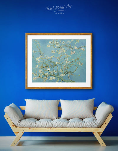 Framed Almond Blossom Painting Van Gogh Wall Art Print - art gallery wall bedroom Blue flora framed