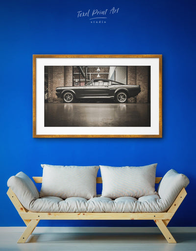 Framed Amazing Ford Mustang GT 500 Wall Art Print - bachelor pad bedroom Black Brown Car