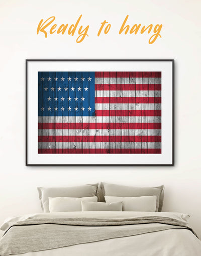 Framed American Flag Wall Art Print - American flag Blue Flag Wall Art framed print Living Room