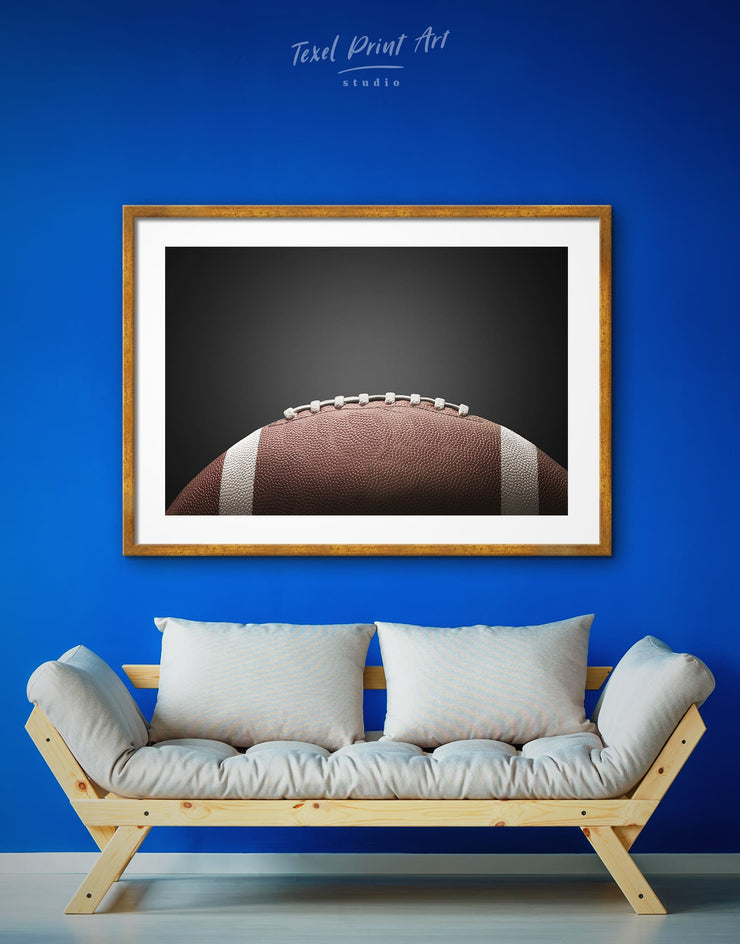 Framed American Football Ball Wall Art Print - bachelor pad framed print framed wall art Living Room living room wall art