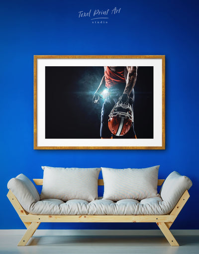 Framed American Football Sport Wall Art Print - bachelor pad bedroom Black Blue Football Wall Art