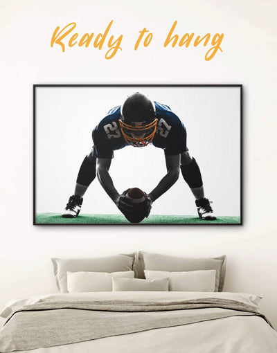 Framed American Football Wall Art Canvas - bachelor pad black and white wall art contemporary wall art Football Wall Art framed canvas