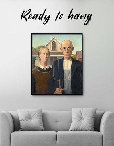 Framed American Gothic by Grant Wood Wall Art Canvas - Canvas Wall Art bedroom framed canvas Grant Wood Hallway Living Room