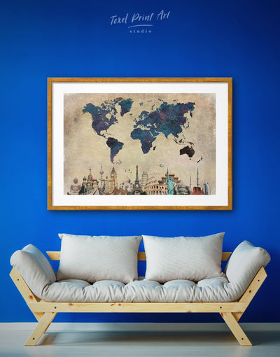 Framed Ancient Style World Map Wall Art Print - Abstract map Blue blue wall art for bedroom Blue wall art for living room framed print