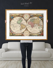 Framed Antique World Map Wall Art Print
