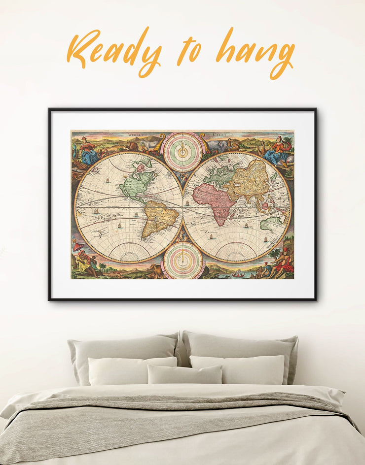 Framed Antique World Map Wall Art Print - Antique world map canvas framed print Library Living Room old world map wall art