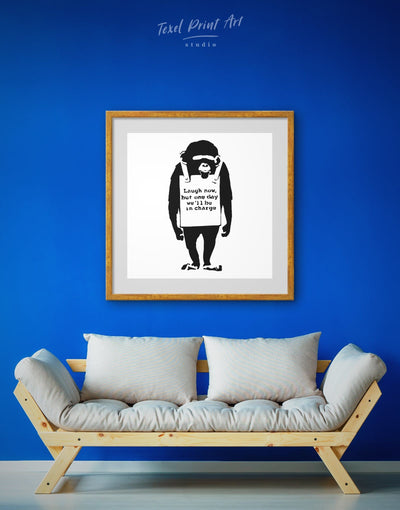 Framed Ape Laugh Now by Banksy Wall Art Print - Banksy banksy wall art Black black and white wall art Contemporary