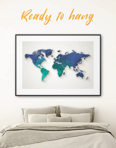 Framed Aquamarine World Map Wall Art Print - Abstract abstract world map wall art bedroom Blue Abstract Wall art blue and green wall art