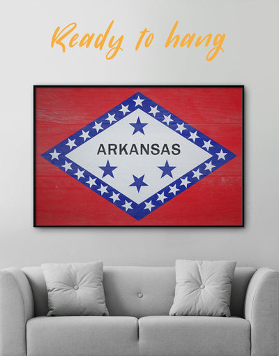 Framed Arkansas Red Flag Wall Art Canvas - blue flag wall art framed canvas Hallway Living Room