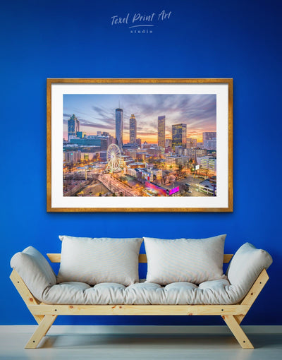 Framed Atlanta Cityscape Wall Art Print - bedroom City Skyline Wall Art Cityscape framed print Hallway