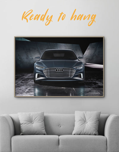 Framed Audi A8 Wall Art Canvas - bachelor pad black car framed canvas garage wall art
