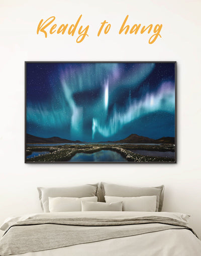 Framed Aurora Borealis Wall Art Canvas - aurora borealis wall art bedroom framed canvas framed wall art landscape wall art