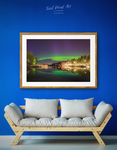 Framed Aurora Borealis Wall Art Print - aurora borealis wall art bedroom framed print Green landscape wall art