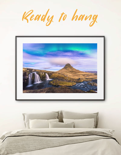 Framed Aurora Borealis Wall Art Print - aurora borealis wall art bedroom framed print framed wall art landscape wall art