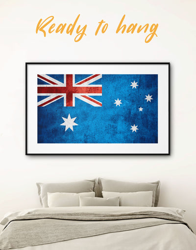 Framed Australian Flag Wall Art Print - blue Flag Wall Art framed print Office Wall Art Patriotic