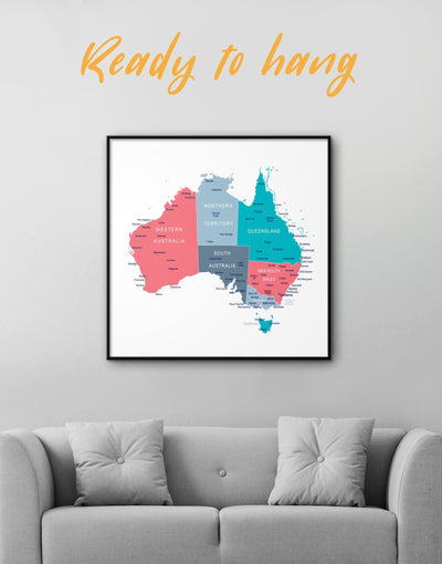 Framed Australian Map Wall Art Canvas - bedroom Country Map framed canvas Hallway Living Room