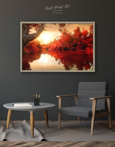 Framed Autumn Landscape Wall Art Canvas - bedroom framed canvas Hallway landscape wall art Living Room