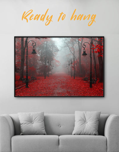 Framed Autumn Park Wall Art Canvas - bedroom forest wall art framed canvas Hallway landscape wall art