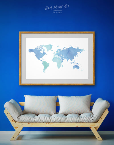 Framed Azure World Map Wall Art Print - Abstract map bedroom Blue blue wall art for bedroom Blue wall art for living room