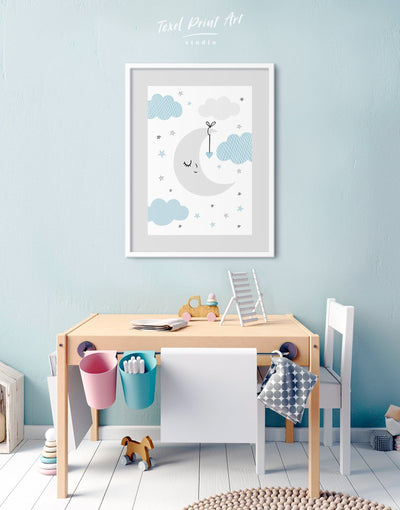Framed Baby Boy Nursery Wall Decor Print - Wall Art blue framed print grey Kids room kids wall art